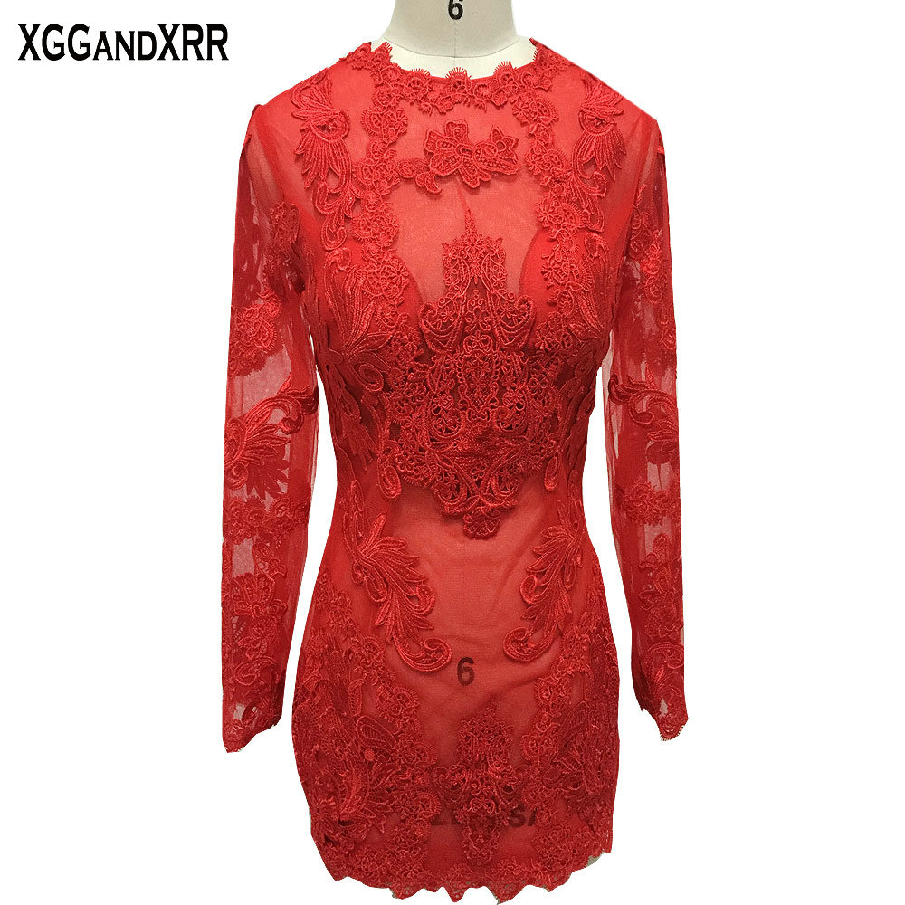 Hot Sale Long Sleeves Straight   Cocktail     Dresses   2018 Red Lace Scoop Appliques Mini Prom   Dresses   Custom Made Formal Party Gowns