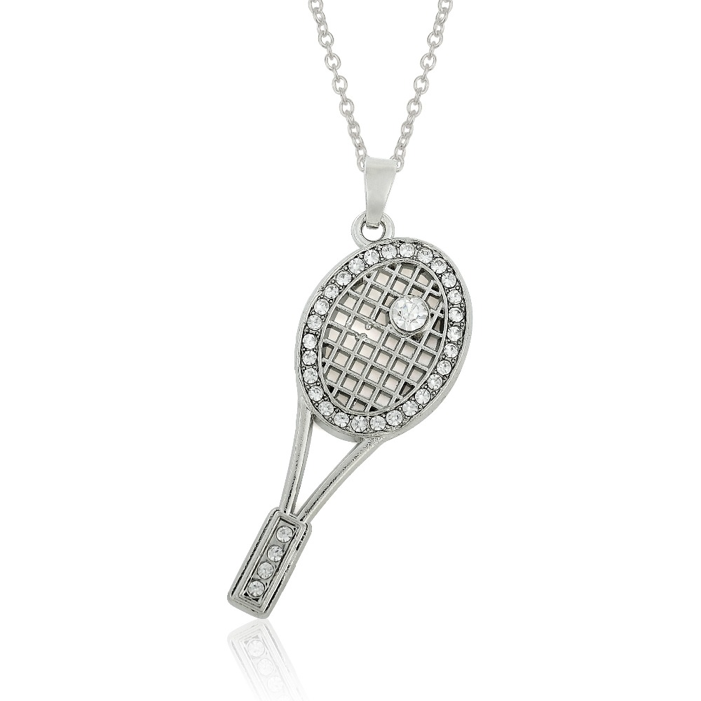 Tennis racquet racket crystal fashion necklace jewelry in pendant tennis racquet racket crystal fashion necklace jewelry in pendant necklaces from jewelry accessories on aliexpress alibaba group aloadofball Images