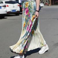High Quality Summer Vintage Women Pleated Skirt High Waist Pattern Flower Ladies Skirts Floral Print Slim