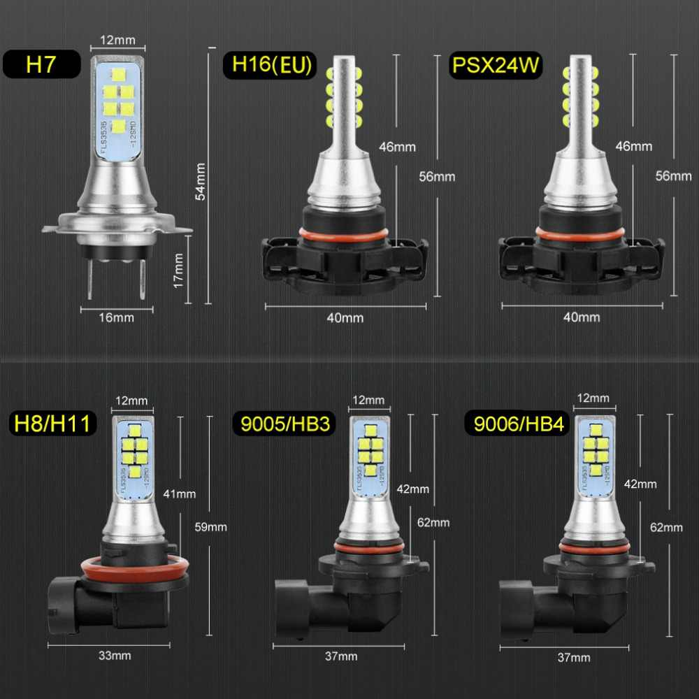 Car LED Fog Light Bulbs H1 H3 H7 H11 H16 9005/HB3 9006/HB4 H27 880 881 P13W PSX26W PSX24W Auto Driving Lamp 1400LM 6000K White