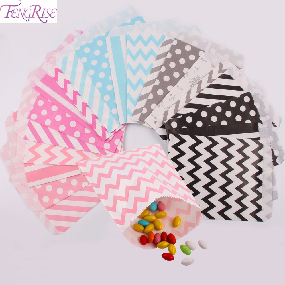 FENGRISE 5x7 Inch Kraft Paper Bag Chevron Popcorn Candy Decoration Wedding Favors And Gifts For Guests Kids Bags Party Supplies