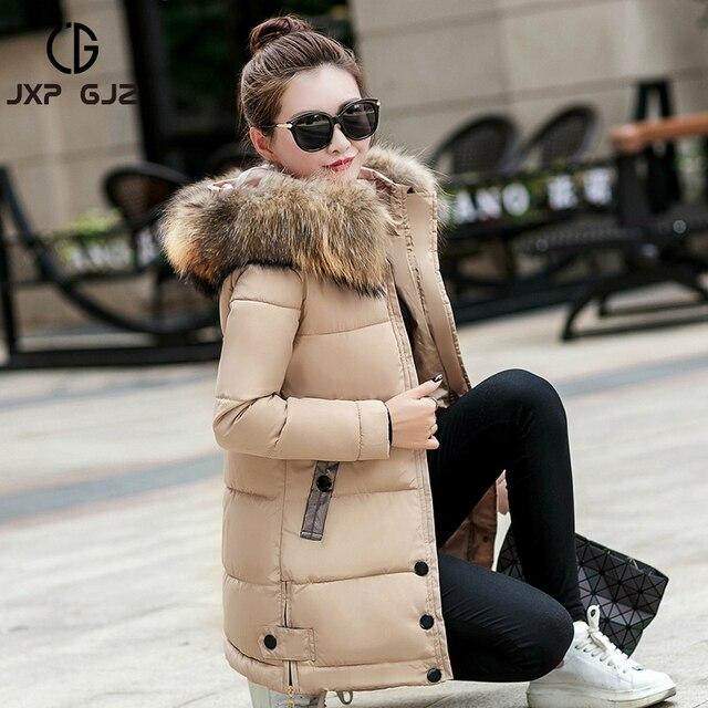 Jxp gjz 2017 осень-зима Для женщин Куртка утепленная черная на молнии длинный рукав толстые парки с капюшоном, парка Femme xxxl