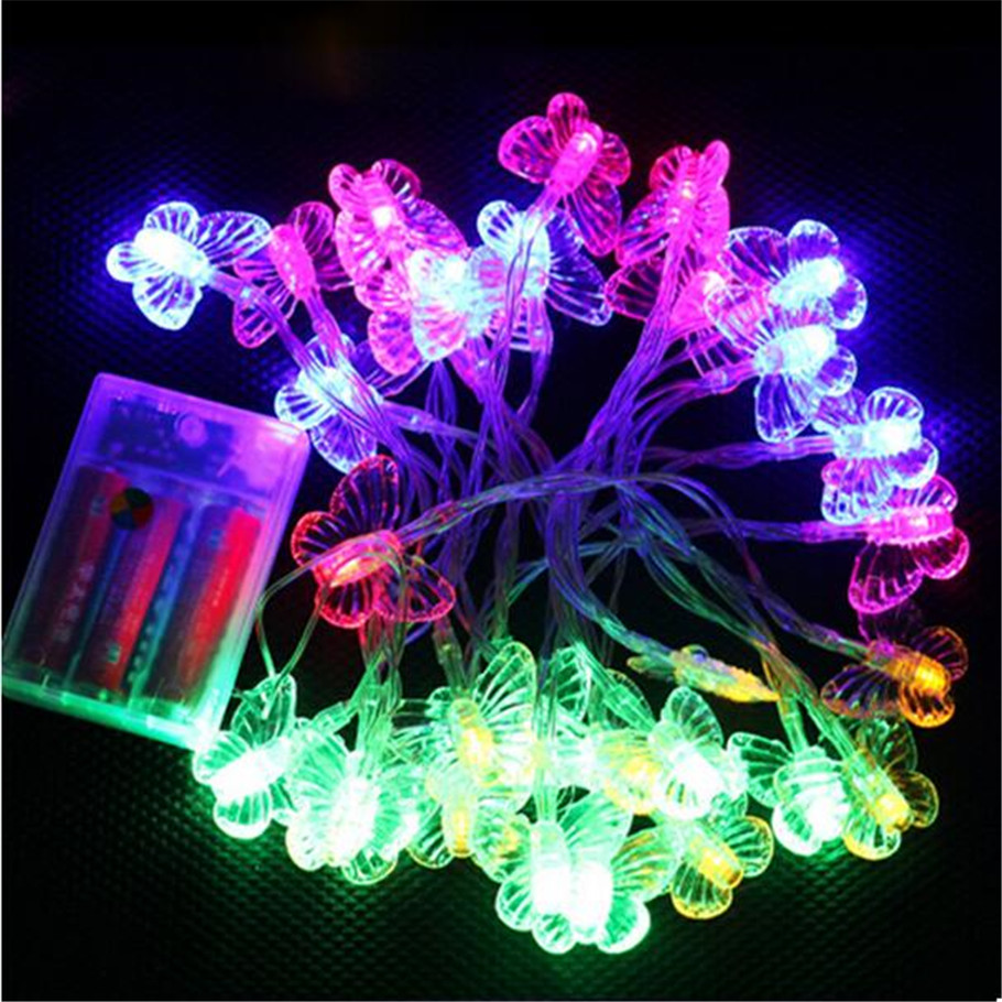 battery 8m 50 led butterfly garland christmas string lights for garden outdoor home decor wedding party patio curtain decotation