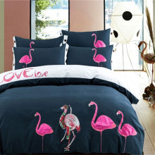 Bedding set 100% Cotton  Embroidery Flamingo Double Duvet Cover Queen King Fashion design Pink XHS0041