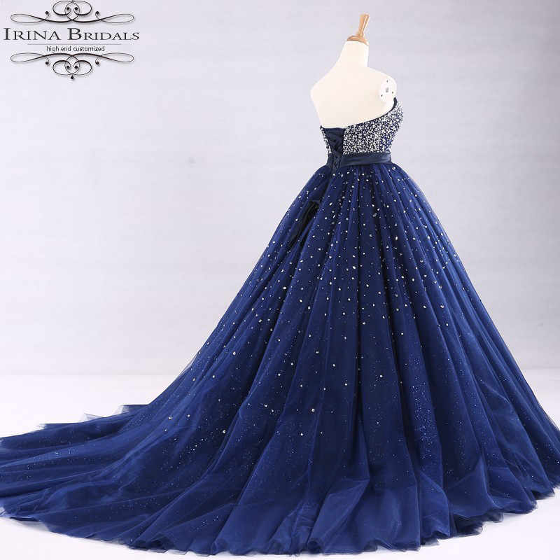 61c27c52432 ... Real Sample Sleeveless Handwork Beading Pearls Sparkling Bling Deep  Blue Wedding Dress 2019 ...