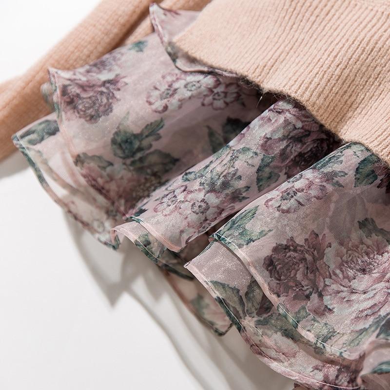 Automne Floral Manches Tops Pulls Casual Patchwork À Longues Haute Imprimé Chandail Qualité Tricoté Rose Printemps Cavaliers Femmes wn0X8ZNOPk