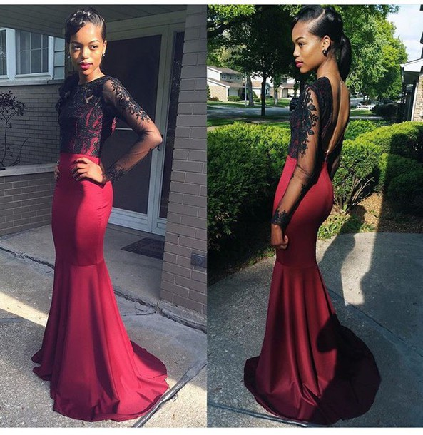 Online Get Cheap Sexy Burgundy Long Sleeve Mermaid Prom Dresses ...