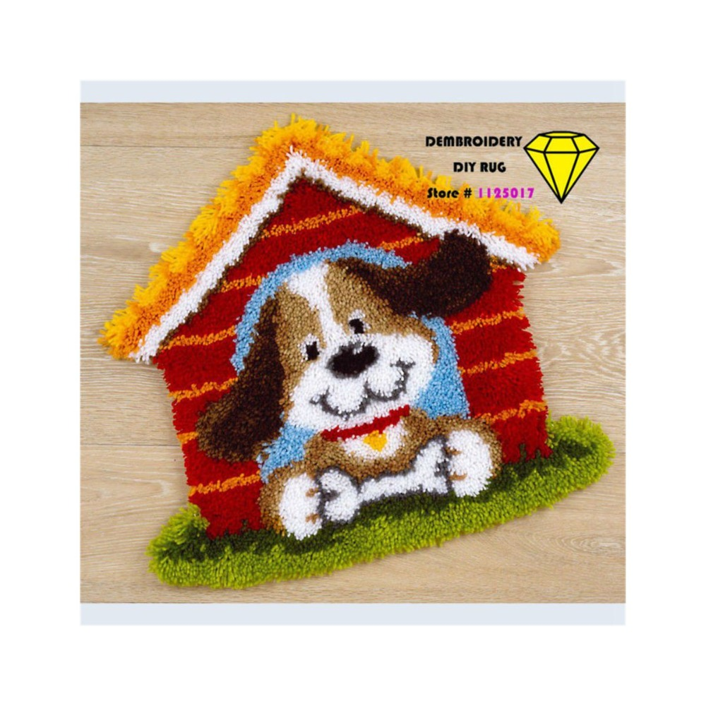 Rug Dogs Embroidery Designs: Embroidery Carpet Cushion Picture Dog Handmade Carpet DIY