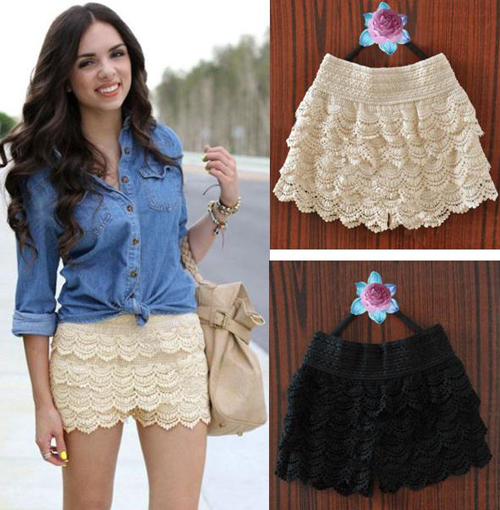 New Fashion Womens Korean Cute Crochet Tiered Lace Shorts ... |Black Tiered Lace Shorts