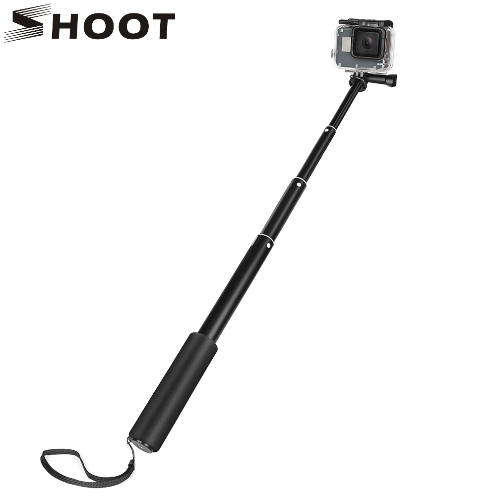 SHOOT 30cm-98cm Aluminum Monopod for GoPro Hero 6 5 Session SJCAM Xiaoyi Yi 4K Camera With Phone Clip Selfie Stick for Phone