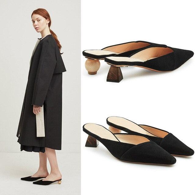 dfb09e88a35 Boussac Geometric Heel Women Sandals Jacquemus Wood Ball Heel Mule Sandals  Shoes Slip on Summer Women