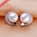 [Yinfeng] The moon shaped 925 Sterling Silver Pearl Earrings nature Freshwater Pearl stud Earrings for girls
