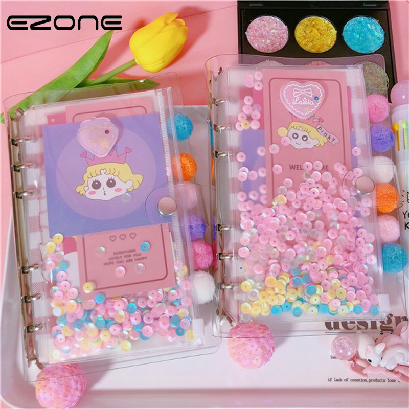 EZONE Sequin Notebook PVC Cover Spiral Note Book With Grid Pages For Traveler Journey Diary Student otepad School Office Supply ezone cute cartoon notebook printed kawaii cat note book pu cover with hasp nopated traveler journey diary school office supply