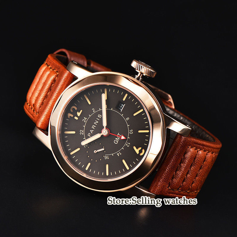 44mm Parnis Date Black Dial Steel Rose gold case GMT Sapphire Glass Automatic Movement Men's Watch цена и фото