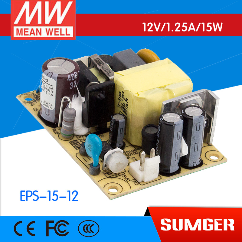 ФОТО [Freeshiping 6Pcs] MEAN WELL original EPS-15-12 12V 1.25A meanwell EPS-15 12V 15W Single Output Switching Power Supply