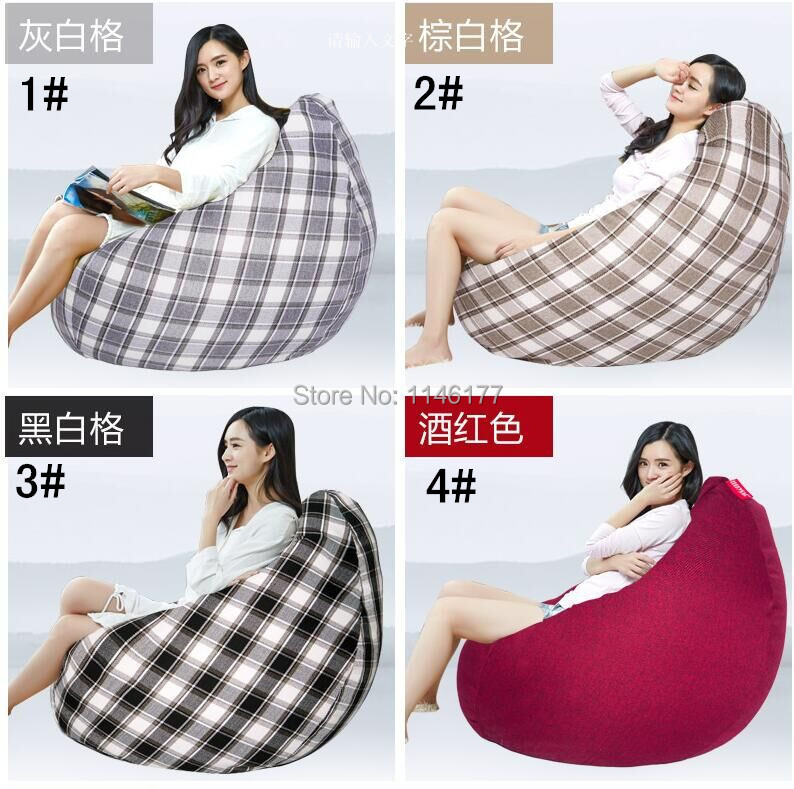 Ywxuege Living Room Black And White Grid Sofas Bean Bag Sofa( filler included) Linen Cotton Soft Sofa Bed Suit For Bed
