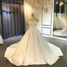 AMANDA NOVIAS 2019 Simple Satin wedding dress with good