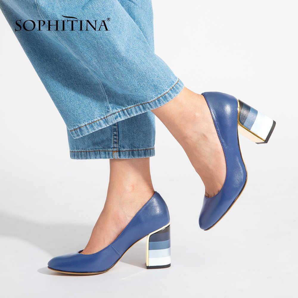 SOPHITINA 2019 ホット販売は、ファッションカラフルな正方形のヒール高品質シープスキンラウンドつま先靴新エレガントな女性のパンプス w10