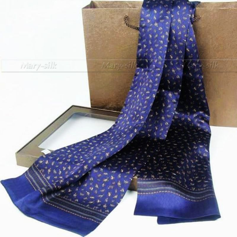 Long Scarf Winter Mens 100%Silk Fashion-Brand Cravat Autumn Spring Double-Layered - For