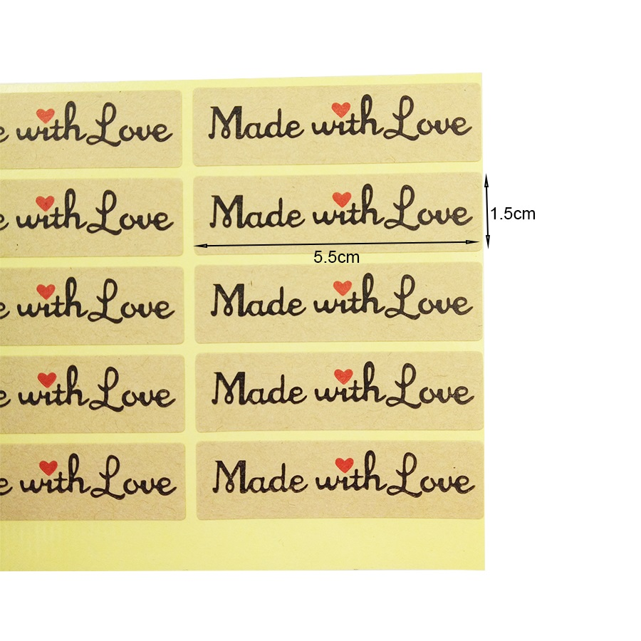 Купить с кэшбэком 100 Pcs/lot Cute Stickers 'Made with Love' Red Heart Rectangle Kraft Paper Seal Sticker For Homemade Gift Packaging Scrapbooking