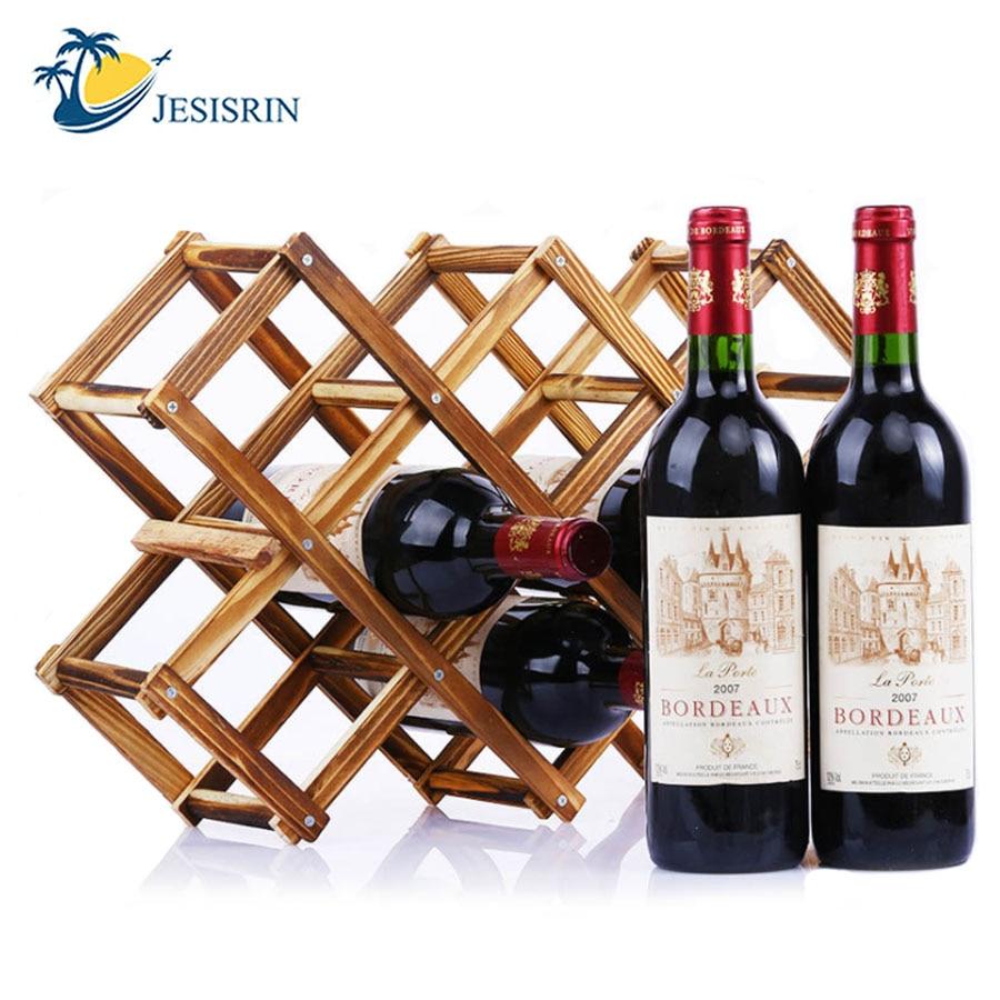 Houten Rode Wijn Rack Decoratieve Planken Houder Bar Display Folding Hout Wijnrek Alcohol Drinken Fles Houders Opruimingsprijs