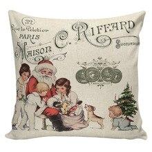 Pillows Cover Decorative-Cushion-Cover Sofa Christmas-Tree Cotton Linen Cartoon Santa-Claus
