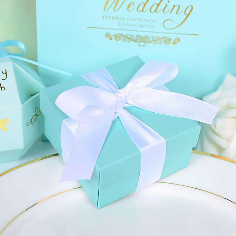 Elegant Luxury Mint Blue Cube Fashion Wedding Paper Candy Box With