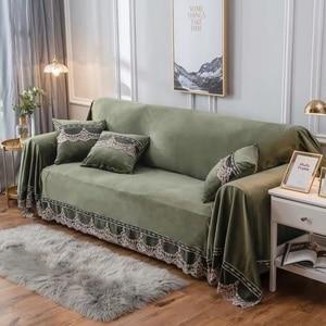 Image 5 - Europäischen Stil Sofa Abdeckung Für Wohnzimmer Grau Plüsch Hussen Stretch Möbel Schnitt Couch Abdeckung Luxus Stoff Spitze Decor