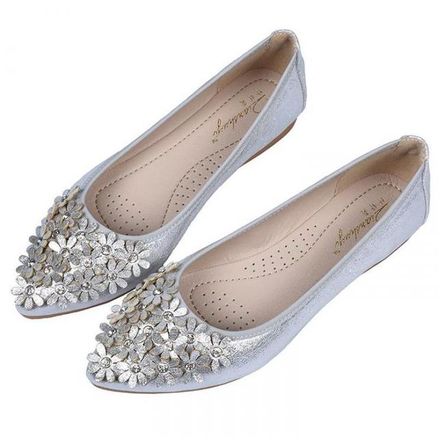 047ae1858bbf Gold Silver Flower Crystal Rhinestone Flats Floral Shoes Women Soft  Comfortable Rubber Ballet Flats Pointed Toe