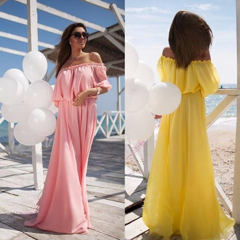 b1fab86fd2b91 2016 Pregnancy Dresses Maternity Clothing Women Summer Long Maxi Dress  Solid Chiffon Off Shoulder Party Dress Boho Beach Dress-in Dresses from  Mother & Kids ...