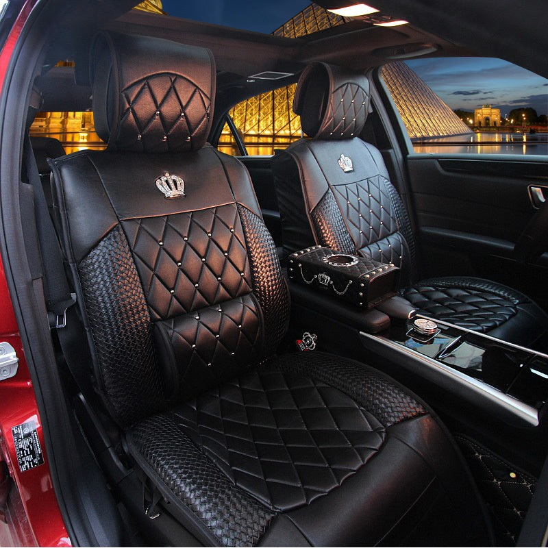 Luxury Covers For Car Seat Universal Set Diamond-Type Lattice Auto Accessories Front Rear Bench Pu Leather Cushion Women Girl