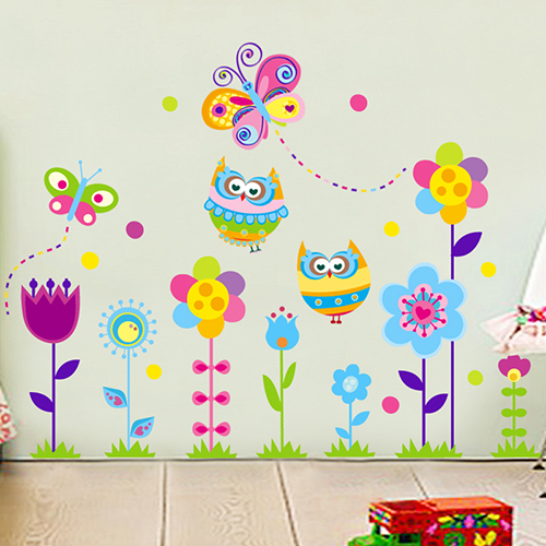 DIY Kindergarten child room decorates a wall cute owl flower wall stickers in the household adornment wall to stick on the wall ...