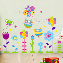 DIY Kindergarten child room decorates a wall cute owl flower stickers in the household adornment to stick on