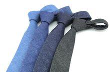 6cm solid men's necktie cotton ties man blue cowboy tie ascot neckwear business suit shirt accessories for men 4pcs/lot