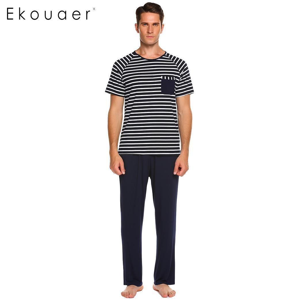 Ekouaer Short Men's Pajamas Set Maxmoda Sleeve Striped Tops With Pants Soft Lougewear