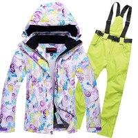 Лыжная куртка + брюки женский мужской комплект сноуборд Зимняя одежда для малышек большой Размеры Для женщин лыжный костюм Водонепроницаем