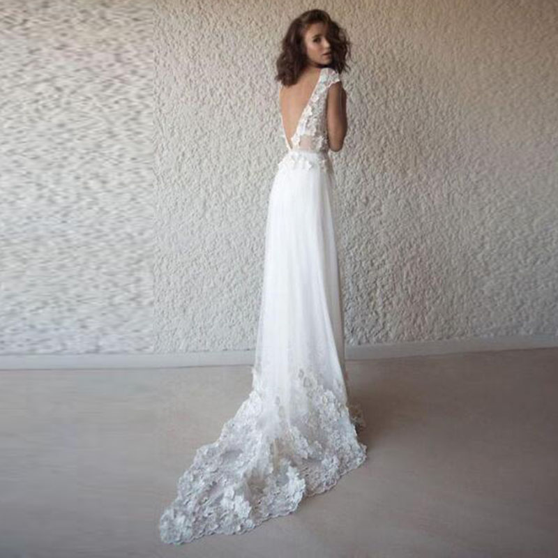Купить с кэшбэком LORIE Sexy Wedding Dress Boho Long Backless White Beach Wedding Dress Appliques Lace V Neck Princess Bride Dress Free Shipping