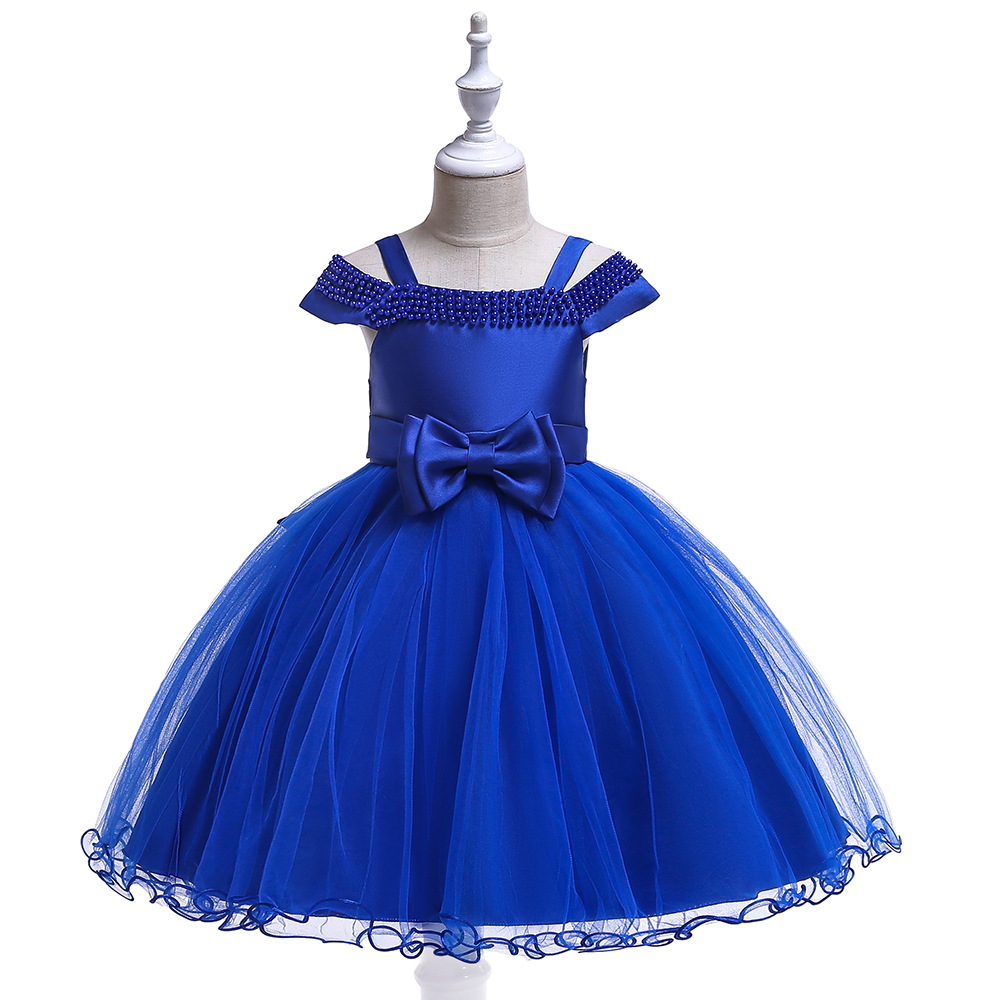 Georous Ballgown Spaghetti Strap Royal Blue  Flower Girl Dresses Tulle Kids Girl Birthday Dress Occasioes 2019