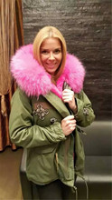 Fashion new beading style pink large raccoon fur collar with real fox fur lined coats jacket army green Mrs fur parka