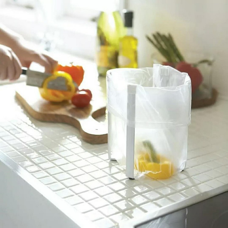 Folding Rubbish Bag Holder Coffee Cups Rack Kitchen Drying Shelf Hanging Drainer Storage Racks Organizer Garbage Bags
