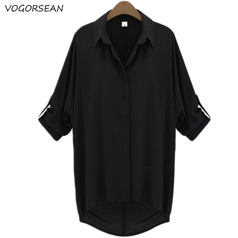 VogorSean Summer Women's   Blouses     Shirts   Large size 2018Chiffon Fashion Lapel Loose 5/5 Sleeve Women   Shirt   Tops Black/White/Green