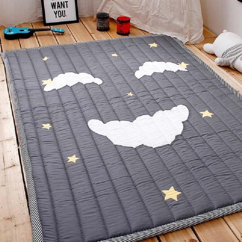 Simple Motif Bébé Jouer Tapis Enfants tapis pour ramper Coton 2.5 CM Épais Souple Tapis Pas D'odeur Sûr tapis de couverture Style Nordique