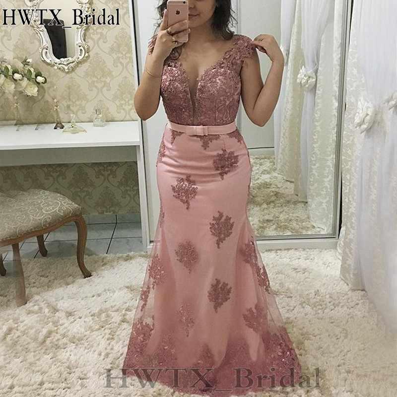 אור ורוד בת ים אמא של הכלה שמלות בתוספת גודל Sheer תכשיט שווי שרוול בציר תחרה 2020 ארוך שמלת פורמליות ערב שמלת