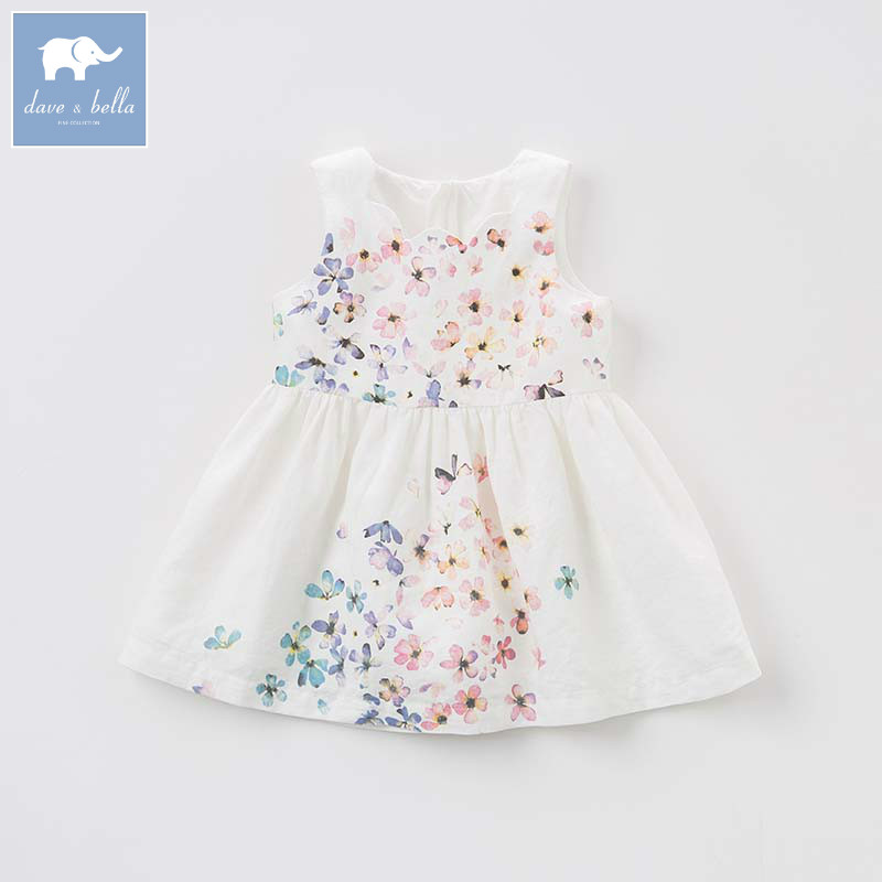 Dave bella summer baby girls floral dress children Lolita lovely sleeveless clothes toddler infant costumes DB7690 db7266 dave bella baby dress girls infant toddler clothing children birthday party clothes kids summer lolita dress