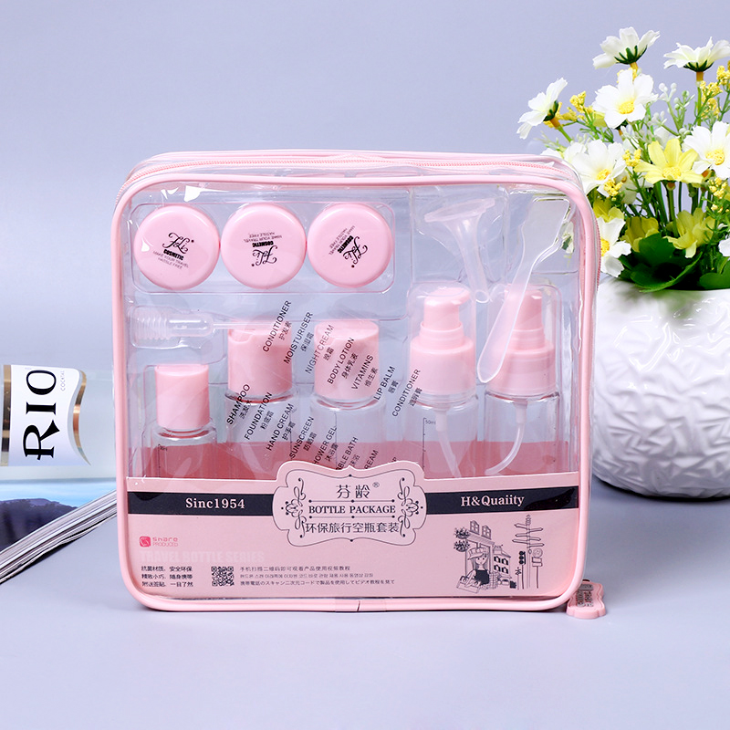 8pcs/set Portable Flight Travel Size Bottle Pack Liquid Containers Shampoo Cream Cosmetics Refilable Bottles