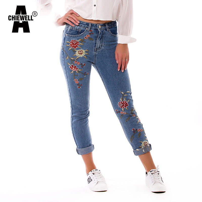 Acheiwell Spring Casual Women Pencil Jeans High Waist Floral Embroidery Fashion Ankle Length Denim
