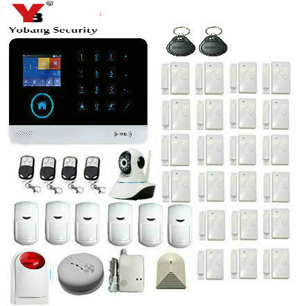 YoBang Security Wifi GSM Wireless Home Security Alarm System Gpr PIR Sensor With Smoke / Gas / Glass Breakage Detection System