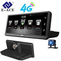 E ACE Car DVRs 4G Android 8.0 Inch Dash Camera 1080P Video Recorder GPS Navigation ADAS Dashcam With Rear View Camera Auto Dvr