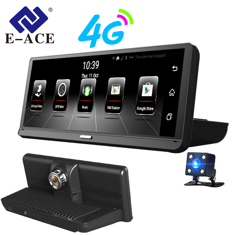 E-ACE E14 Car DVRs 4G Android 8.0 Inch Dash Cam 1080P Video Recorder GPS Navigation ADAS Dashcam With Rear View Camera Auto Dvr