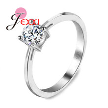 JEXXI Big Promotions Simple Wedding Band Rings With Single Crystals Real S90 Silver Women/Man Promise Anel Jewelry(China)